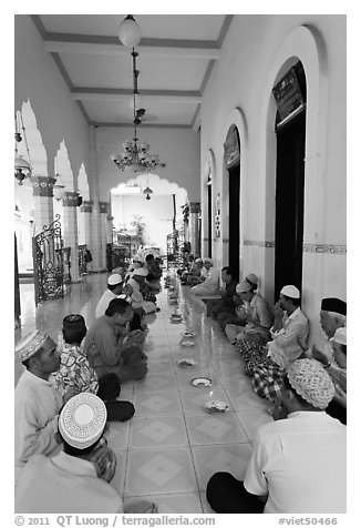 Men sitting in gallery, Cholon Mosque. Cholon, District 5, Ho Chi Minh City, Vietnam (black and white)