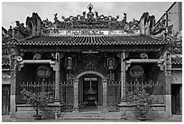 Facade, Thien Hau Pagoda, district 5. Cholon, District 5, Ho Chi Minh City, Vietnam ( black and white)