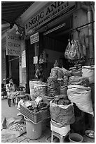Traditional herb shop. Cholon, Ho Chi Minh City, Vietnam ( black and white)