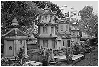 Cemetery, Giac Lam Pagoda, Tan Binh District. Ho Chi Minh City, Vietnam (black and white)