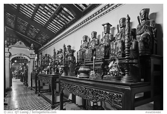 Row of statues, Giac Lam Pagoda, Tan Binh District. Ho Chi Minh City, Vietnam (black and white)
