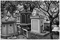 Buddhist graves, Giac Lam Pagoda, Tan Binh District. Ho Chi Minh City, Vietnam ( black and white)