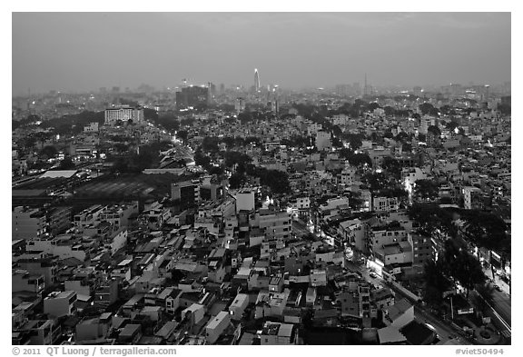 View of Cholon, from above at dusk. Cholon, Ho Chi Minh City, Vietnam (black and white)