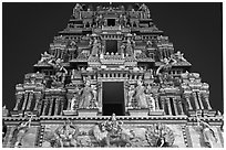 Tower at night, Mariamman Hindu Temple. Ho Chi Minh City, Vietnam (black and white)