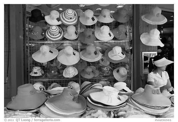 Store selling hats. Ho Chi Minh City, Vietnam (black and white)