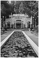 Lilly pond and temple gate, Cong Vien Van Hoa Park. Ho Chi Minh City, Vietnam (black and white)