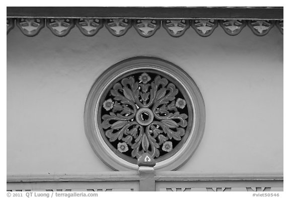 Circular window, Saigon Caodai temple, district 5. Ho Chi Minh City, Vietnam (black and white)