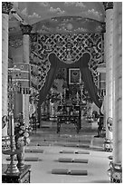 Main ceremonial room and altar Saigon Caodai temple, district 5. Ho Chi Minh City, Vietnam ( black and white)