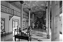 Main ceremonial room, Saigon Caodai temple, district 5. Ho Chi Minh City, Vietnam ( black and white)