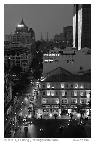 Hotel Continental, streets, and Basilica at night. Ho Chi Minh City, Vietnam (black and white)