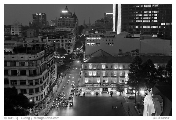 Rooftop view of central Saigon. Ho Chi Minh City, Vietnam (black and white)