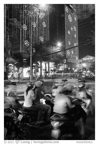 Traffic outside of shopping mall. Ho Chi Minh City, Vietnam (black and white)