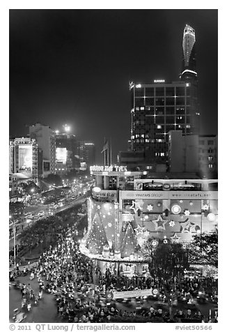 Cityscape elevated view at night with dense traffic on streets. Ho Chi Minh City, Vietnam (black and white)