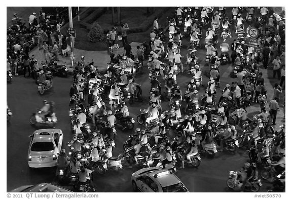 Traffic from above, intersection of Nguyen Hue and Le Loi. Ho Chi Minh City, Vietnam (black and white)