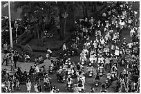 Crowded boulevard from above at night. Ho Chi Minh City, Vietnam (black and white)