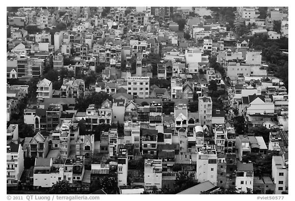 Aerial view of houses. Ho Chi Minh City, Vietnam (black and white)