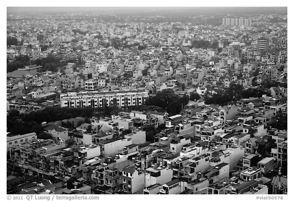 Aerial view of dense urban fabric. Ho Chi Minh City, Vietnam (black and white)