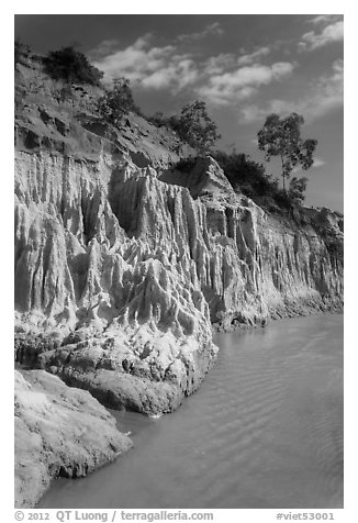 Colorful rock and sand formations above Fairy Stream. Mui Ne, Vietnam (black and white)