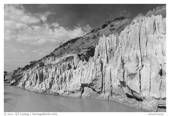 Eroded sandstone cliffs and Fairy Stream. Mui Ne, Vietnam (black and white)