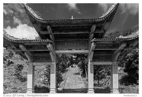Temple gate and stairs. Ta Cu Mountain, Vietnam (black and white)