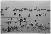 Fishing harbor from above. Mui Ne, Vietnam ( black and white)