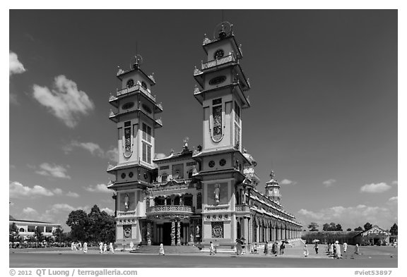 Cao Dai Holy See facade. Tay Ninh, Vietnam (black and white)