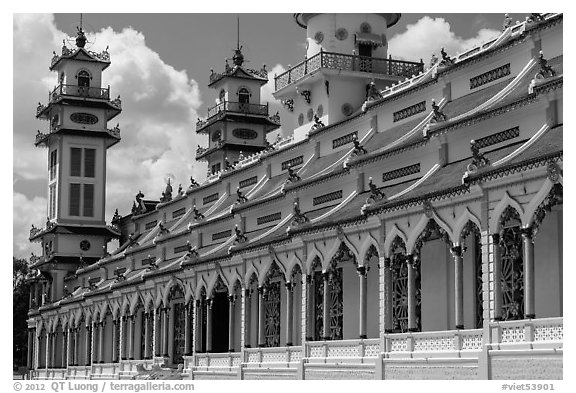 Sideways view of Great Temple of Cao Dai. Tay Ninh, Vietnam (black and white)