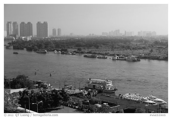 View over Saigon River in the morning. Ho Chi Minh City, Vietnam (black and white)