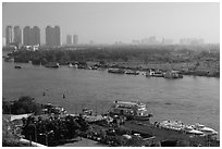 View over Saigon River in the morning. Ho Chi Minh City, Vietnam ( black and white)