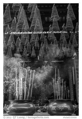 Incense sticks and coils, Thien Hau Pagoda. Cholon, District 5, Ho Chi Minh City, Vietnam (black and white)