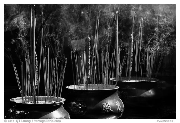 Urns with burning incense sticks, Thien Hau Pagoda, district 5. Cholon, District 5, Ho Chi Minh City, Vietnam (black and white)