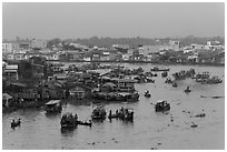 Cai Rang market before sunrise. Can Tho, Vietnam ( black and white)