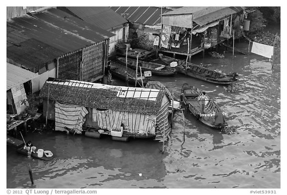 Riverside houses activity from above, Cai Rang. Can Tho, Vietnam (black and white)