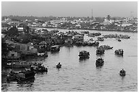 Cai Rang river market. Can Tho, Vietnam ( black and white)