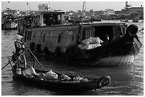 Canoe and barge, Cai Rang floating market. Can Tho, Vietnam (black and white)