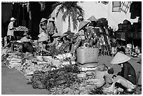 Vegetables for sale at market, Cai Rang. Can Tho, Vietnam (black and white)