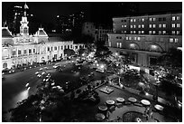 City Hall square at night from above. Ho Chi Minh City, Vietnam (black and white)