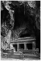 Shrine in Buddhist grotto, Thuy Son. Da Nang, Vietnam (black and white)