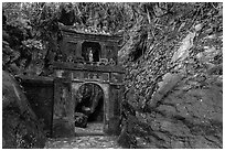 Gate in the jungle, Thuy Son hill, Marble Mountains. Da Nang, Vietnam ( black and white)