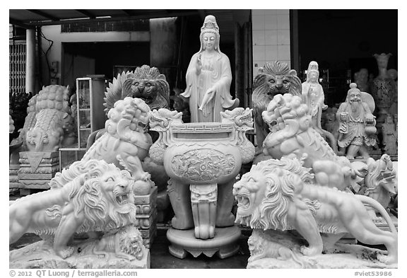 Stone sculptures for sale, Marble Mountains. Da Nang, Vietnam (black and white)