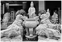 Stone sculptures for sale, Marble Mountains. Da Nang, Vietnam ( black and white)