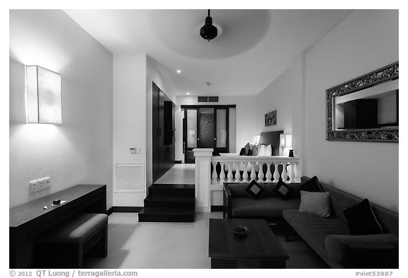 Life Heritage Resort guestroom. Hoi An, Vietnam (black and white)