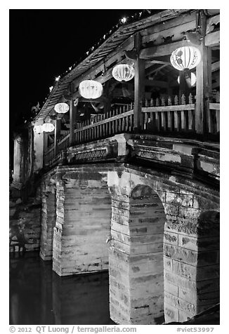 Japanese Bridge with paper lanterns. Hoi An, Vietnam (black and white)