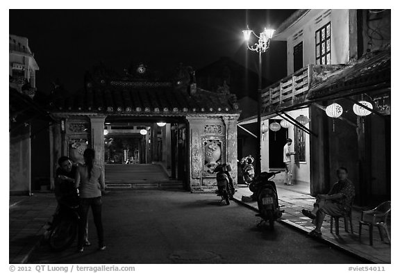 Night street scene near the Japanese Bridge. Hoi An, Vietnam