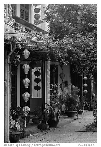 Sidewalk and houses with paper lanterns and lush vegetation. Hoi An, Vietnam (black and white)