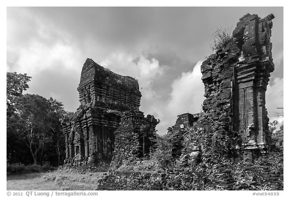 Ruined Champa monuments. My Son, Vietnam (black and white)