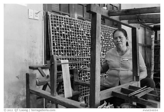 Silk making workshop. Hoi An, Vietnam (black and white)