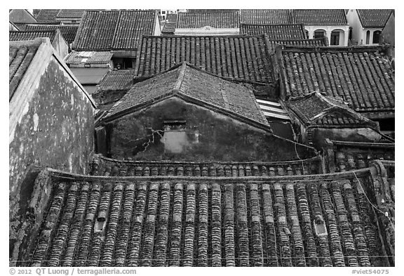 Ancient tile rooftops. Hoi An, Vietnam (black and white)