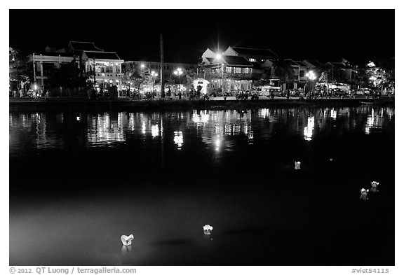 Thu Bon River with floatting candles. Hoi An, Vietnam (black and white)