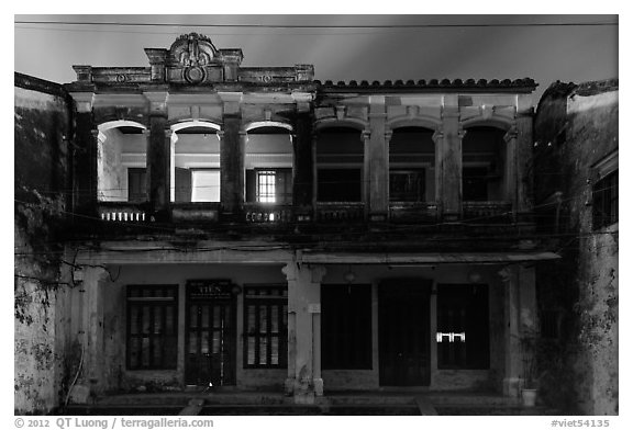 Old townhouses at night. Hoi An, Vietnam (black and white)